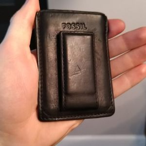 Fossil Black Leather Wallet w/Magnet Money Clip